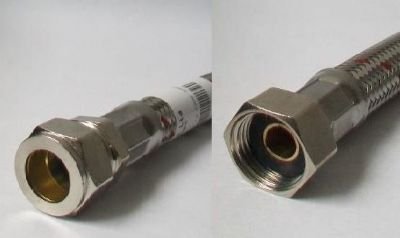 Flexible Hose Tap Connector 1/2 x 15mm Compression 600mm - 54000539